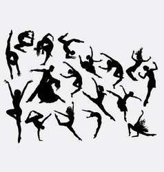 Modern and ballerina dance silhouette vector