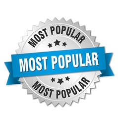 Most popular 3d silver badge with blue ribbon vector