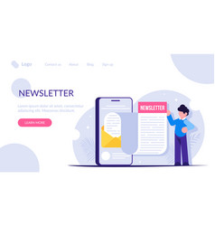 newsletter concept the man opened news email vector image