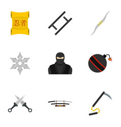 Ninja arsenal icons set flat style vector