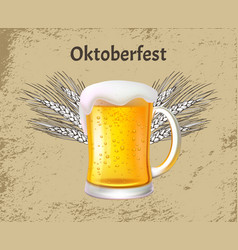 oktoberfest poster craft beer with foam glass mug vector image