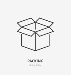 open box flat line icon delivery packing sign vector image