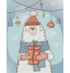 polar christmas bear with present box vector image