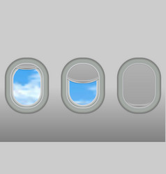 portholes of airplane vector image