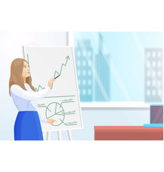 Presenter with whiteboard showing charts vector