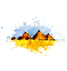 Pyramids in giza egypt made of colorful splashes vector