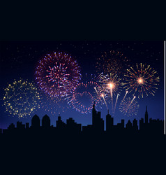 Pyrotechnics and fireworks in city background vector