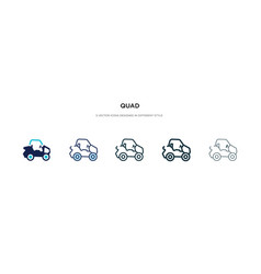 Quad icon in different style two colored and vector