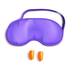 Realistic detailed 3d purple sleeping mask and vector