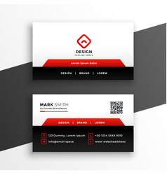 red elegant corporate business card design vector image