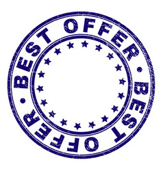 Scratched textured best offer round stamp seal vector