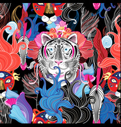 Seamless bright floral pattern wild beasts vector