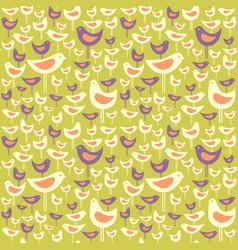Seamless pattern mid century modern birds vector