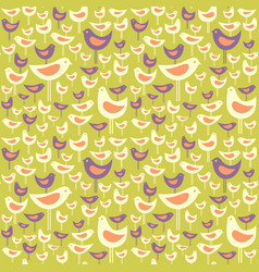 Seamless pattern of mid century modern birds vector