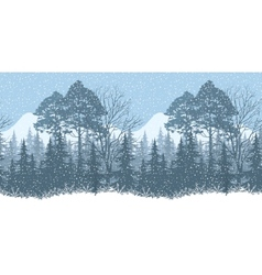 Seamless Winter Woodland Landscape vector image