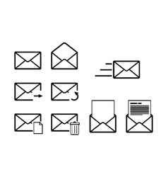 set envelope outline icons for mail interface vector image
