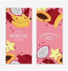 Set fresh fruits templates bright food vector