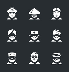set of nation people icons vector image vector image