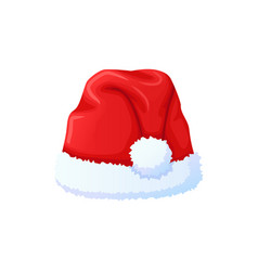 Set of red santa claus hat new year cap vector