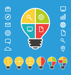 simple lightbulb diagram with set of icons vector image