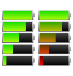 smooth battery level indicator set green and vector image