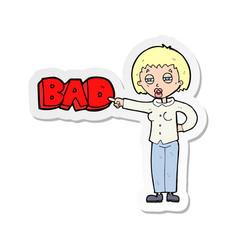 Sticker of a cartoon woman judging vector