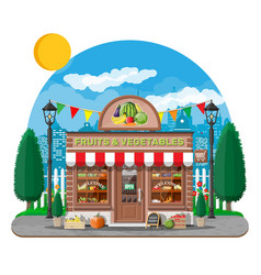 Street shop building fruit and vegetable store vector
