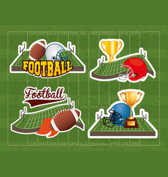 Superbowl sport poster with set equipment icons vector