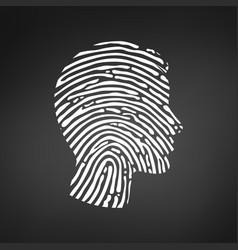Symbol fingerprint head white fingerprint sign vector