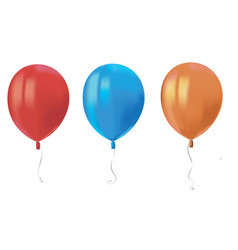 three realistic air flying balloons with reflects vector image