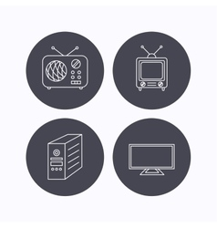 TV PC case and retro radio icons vector