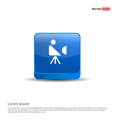 video camera icon - 3d blue button vector image