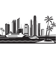 view miami from sea vector image