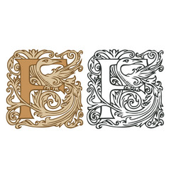 Vintage initial letter f with baroque decoration vector