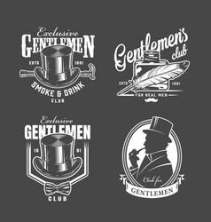 Vintage monochrome gentleman club labels vector