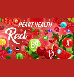 vitamin from red fruits color diet heart health vector image