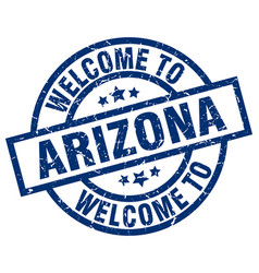 Welcome to arizona blue stamp vector