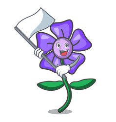 With flag periwinkle flower mascot cartoon vector