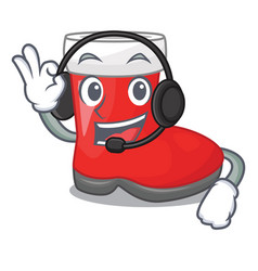 with headphone santa boots in shape a cartoon vector image