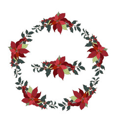 wreath with traditional christmas plants vector image