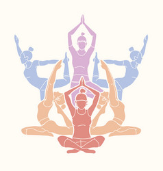 Yoga class group of women practice yoga vector