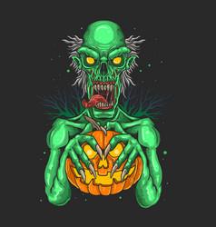 zombies carrying pumpkins grap vector image