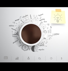 Coffee cup on drawing business strategy vector image