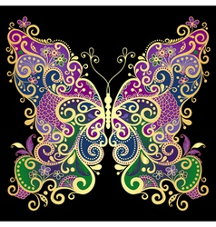 Fantasy gold-colorful butterfly vector image vector image