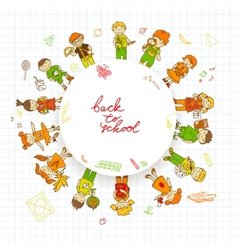 Round banner with kids vector image vector image