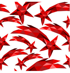 Shooting star seamless pattern red low poly xmas vector