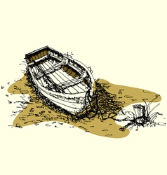 sketch drawing boat on ground vector image vector image