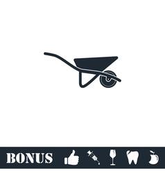Wheelbarrow icon flat vector image vector image
