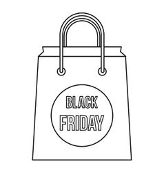 Black Friday shopping bag icon outline style vector image vector image