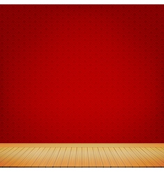 Brown wood floor with red chinese style background vector image